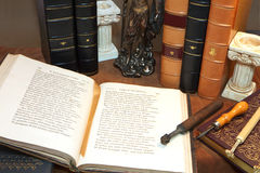 Library with old antique books stock images