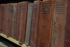 Library. Old books on the shelves in library Stock Image