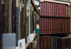 Library. Old books on the shelves in library royalty free stock image