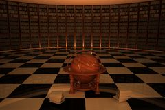 Library with old wooden globe in center Stock Photo