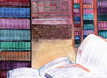 Library. Painting of large library collection vector illustration
