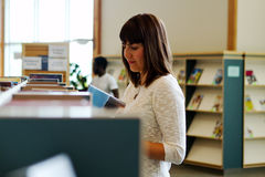 Library patrons looking at books. To read Royalty Free Stock Image