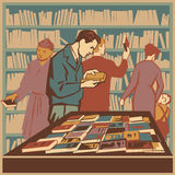 Library. People interested in literature and new books retro  illustration Royalty Free Stock Photo
