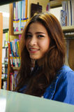 Library. Portrait of asia student smiling in the library Stock Images