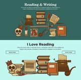 Library reading and writing books vintage literature posters of novel or poetry book and typewriter icons. Literature writing and reading posters of vintage Royalty Free Stock Photos