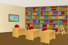 Library room beige interior table chair illustration Royalty Free Stock Photos