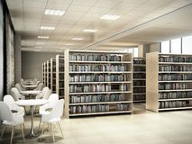 Library room bookshelves tables with chairs light library room 3d render. Library room bookshelves tables with chairs light library room 3d royalty free illustration