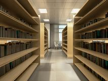Library room bookshelves tables with chairs light library room 3d render vector illustration