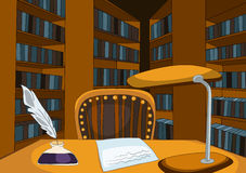 Library Room Cartoon. Library Room with Table and Bookshelfs. Vector Cartoon Background Stock Photos