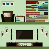 Library and room interior  on stylish cover. Modern illustration in trendy flat style Stock Images