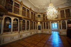 Library room of the Rosenborg Castle. Library room filled with books at the Rosenborg Castle Royalty Free Stock Image