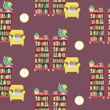 Library scene in flat design style Stock Photos