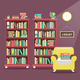 Library scene illustration in flat design Stock Images