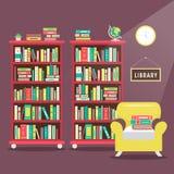 Library scene illustration in flat design. Style royalty free illustration