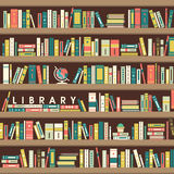 Library scene illustration in flat design Royalty Free Stock Photo