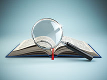 Library search. Loupe and book. Educational concept. Stock Photography