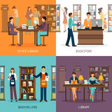 Library Service 2x2 Set Royalty Free Stock Image