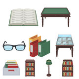 Library set. A set of icons with books. Seth about the library, reading, bookstore. Library and bookstore icon in set collection on cartoon style vector symbol stock illustration