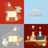 Library set students reading room education concept Royalty Free Stock Photos