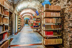 Library setting with books and reading material. Royalty Free Stock Images