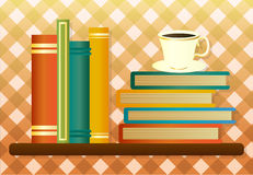 Library shelf with books and cup of coffee. Vector illustration Royalty Free Stock Images