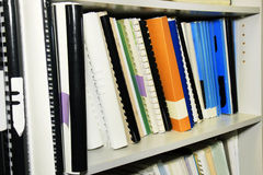 Library shelf full of references Stock Image