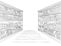 Library shelf graphic black white interior sketch illustration vector. Library shelf graphic black white interior sketch vector vector illustration