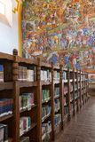 Library shelves with books. March 25, 2014 Patzcuaro, Mexico: shelves in the `Gertrudis Bocanega` Library in historic center which is housed in a former church Royalty Free Stock Photography