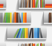 Library shelves with color books Stock Images