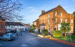 Library and shops in centre of Westbury, Wiltshire, UK. On 17 January 2019 stock image