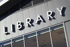 Library Sign. On Modern Building stock image