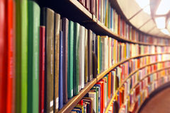 Library. Some books on the shelves in a public library