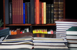 Library stack of books Stock Photos