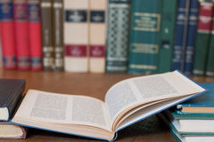 Library. Stack of books at the library Stock Photography