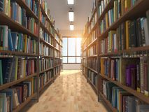 Library stacks of books and bookshelf. 3d illustration royalty free illustration