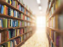 Library stacks of books and bookshelf with DOF effect and light. In the end. 3d illustration royalty free illustration