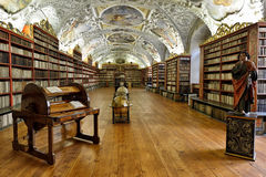 Library of Strahov Monastery. Which is a Premonstratensian abbey founded in 1143 stock photography