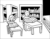 Library Studying - black and white Royalty Free Stock Images