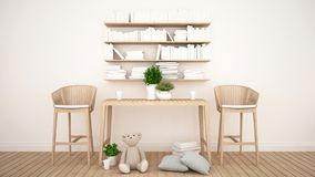 Library and toy in kid room or coffee shop - 3D Rendering royalty free illustration