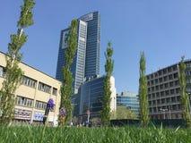 Library of trees, the new Milan park overlooking the Palazzo della Regione Lombardia, skyscraper Stock Photos
