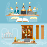 Library vector banner students in the reading room Royalty Free Stock Photo