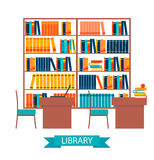 Library vector with bookshelves. Library vector illustration with book shelves and tables royalty free illustration