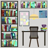 Library vector illustration with book and table Royalty Free Stock Images