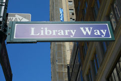 Library Way Sign Royalty Free Stock Photography