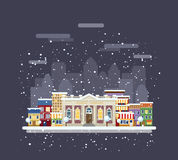 Library in a winter city. City landscape royalty free illustration