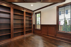 Library with wood ceiling beam Royalty Free Stock Photography