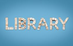 LIBRARY word arranged from books. LIBRARY word formed from books, shot from above on light blue background Royalty Free Stock Image