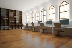Library with workplaces. Side view of library interior with wooden bookshelves and workplaces with computers. 3D Rendering Royalty Free Stock Photography