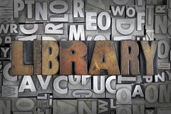 Library. Written in vintage letterpress type stock images