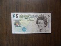 5 libras de billete de banco de Inglaterra fotografía de archivo
